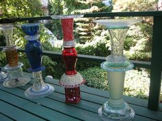 Birdbaths and Yard Art, Recycled Glass Sculpture. Glass Vases, bowls and plates, I want to try just one.