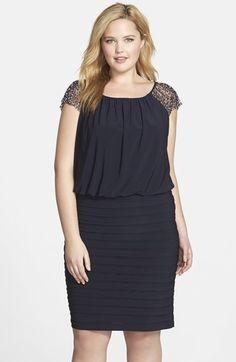 04a9a63eea31c8 Xscape Beaded Cap Sleeve Blouson Dress (Plus Size)