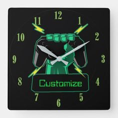 Shop Personalized Power Gamer Square Clock created by ManCavePortal. Wedding Invitation Wording, Invitation Cards, Pvp, Dog Bowtie, Business Supplies, Portal, Party Supplies, I Shop, Clock
