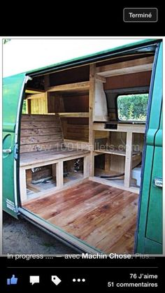 Cool Volkswagen 2017 - Love this >> Refurbished Volkswagen High Roof With Pallets Pallet Home . Camping Accessories Check more at Interior Kombi, Volkswagen Bus Interior, Bus Camper, Rv Campers, Combi Vw T2, Wolkswagen Van, Kombi Trailer, Trailers, Bar Outdoor