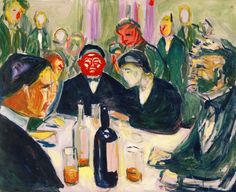 Around the Drinking Table 1927–30 / Oil on wooden panel / 50 x 61 cm Munch Museum