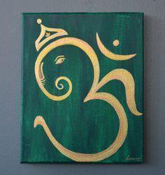Om Ganesha Acrylic Canvas Painting ~ Home Decor Art/ Wall Art/ Yoga Studio Decor/ Prayer Room Art by AnArtsyAppetite on Etsy https://www.etsy.com/listing/248941161/om-ganesha-acrylic-canvas-painting-home