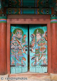 Painted temple doors. Seoul, Korea