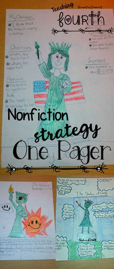 """Have students create """"One Pagers,"""" to show what they know after reading a nonfiction selection. It includes 3 questions with answers, 3 facts, a picture, and a symbol. Kids can really get creative with this!"""