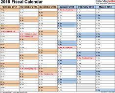 2018 fiscal calendar excel