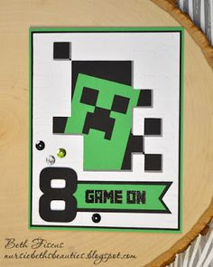 Mine Craft Party Cricut Minecraft – Invitation Card Ideas Minecraft Cards, Minecraft Birthday Card, Minecraft Room, Birthday Cards For Son, Homemade Birthday Cards, Birthday Diy, Valentine's Cards For Kids, Boy Cards, Minecraft Party Decorations