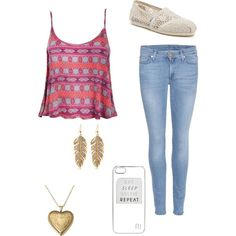 A fashion look from February 2015 featuring 7 For All Mankind jeans, TOMS flats and River Island tech accessories. Browse and shop related looks.