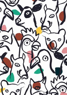 #minakani #koala #cow #cock #pigeon #fox #boar #farmlife #allover #pattern