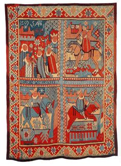 Norwegian distinct textile style - images of kings, queens and prancing horses