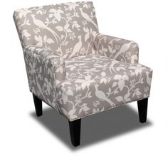 Lana Armchair - A charming motif of birds brings a decidedly feminine flair to the Lana Armchair, while a neutral palette allows it to seamlessly work with a variety of décor styles and room colors. Stained hardwood legs complete the look.