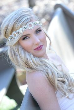 Pink Pewter Jeweled Stretch Headband AUDREY White AB -Wedding Prom Hair Accessory