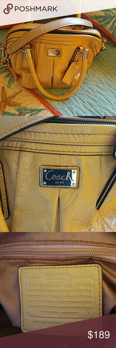 💖💖Coach Satchel💖💖 Beautiful cream colored Coach purse with handles and removable shoulder strap. Dimensions are 14x9x6. Ample room for all your items, without the bulk!Luxurious soft patent leather from one of Coaches higher end collections!❤❤ Comes with duster bag.❤ Gently loved, but still in excellant condition! Such a chic color and look!👜👜 Perfect color for all seasons! Coach Bags