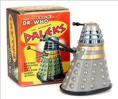 Marx Toys - Dr Who Dalek Bump and Go, boxed 1960's. My sister and I had one each - one silver and one black.