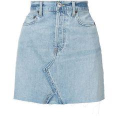 Re/Done short denim skirt ($260) ❤ liked on Polyvore featuring skirts, mini skirts, bottoms, blue, denim skirt, short skirts, blue skirts, short blue skirt and short denim skirts