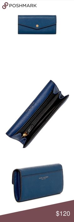 """Marc Jacobs Saffiano Leather Continental Wallet Marc Jacobs Saffiano Flap Leather Continental Wallet in Azure Blue  Foldover flap with snap closure Interior features 1 center divider zip pocket, 1 bill slot, and 12 card slots Approx. 3.5"""" H x 7"""" W x 1"""" D Marc Jacobs Bags Wallets"""