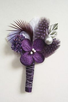 Purple and Silver Wedding Boutonniere/Corsage Purple And Silver Wedding, Purple Wedding Bouquets, Prom Flowers, Diy Wedding Bouquet, Corsage Wedding, Silver Flowers, Floral Wedding, Wedding Flowers, Wedding Boutonniere
