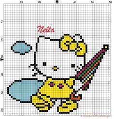 Hello Kitty rain perler bead pattern