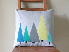 PILLOW COVER - Holiday Tree Forest in Modern Blues (Featured in Better Homes & Gardens and HGTV)