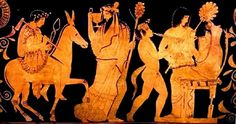 Kleophon Painter (fl. mid-to-late 5th century BCE), Museum of Art, Toledo 1982.88 (82.88) (425 BCE). Red-figure skyphos. Side A: Hephaestus on mule; Dionysus; a boy satyr playing pipes; before Hera seated and accompanied by a hand-maiden.