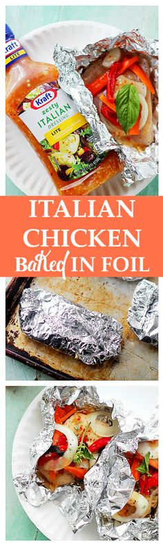 Italian Chicken and Vegetables In Foil. Flavorful and moist chicken breasts baked in aluminum foil with peppers, onion, garlic, fresh herbs and Italian Dressing. Foil Baked Chicken, Italian Baked Chicken, Chicken Foil Packets, Moist Chicken, Baked Chicken Breast, Chicken Breasts, Recipe Chicken, Chicken In Italian Dressing, Bbq Chicken