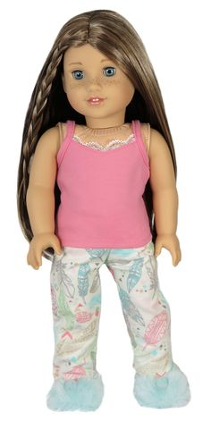 American Girl Doll Clothes - Silly Monkey - Pink Tank and Ivory Feather Pajama Pants, $14.00 (http://www.silly-monkey.com/products/pink-tank-and-ivory-feather-pajama-pants.html)
