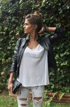 leather jacket, t-shirt and jeans