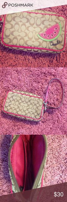 Watermelon Coach Phone Holder wristlet with leather strap; great condition Coach Bags Clutches & Wristlets