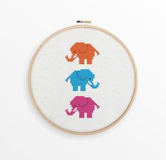 Cute Elephants Cross Stitch Pattern - Modern Counted Cross Stitch - INSTANT DOWNLOAD