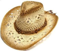 Special 2 Pcs Wholesale Lots NEW Straw Crochet Cowboy Hat with Beaded Strap Summer Palm Hat