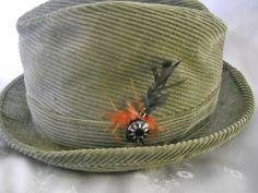 60s Hat Men s Corduroy Fedora Harvard Sport by LunaJunction 08f91bb43230
