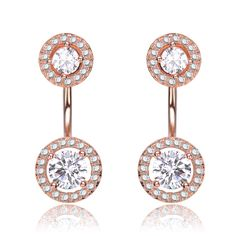 Collette Z Rose Gold Overlay Clear Cubic Zirconia Circular Ear Jacket Earrings (CZ Earrings), Women's, Size: Medium, White
