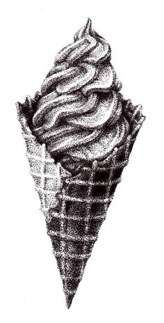 26 Ice Cream Pencil Drawing Ideas - New Ink Pen Art, Cool Art Drawings, Pencil Art Drawings, Art Drawings Sketches, Drawing Ideas, Deviantart Zeichnungen, Stylo Art, Stippling Drawing, Ice Cream Sketch