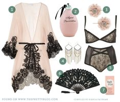 boudoir outfit: 1920's inspired boudoir look with pink lace ROBE + structured black lace BRA and PANTY set + black FAN + pink EARRINGS