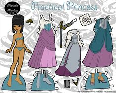 Princess paper doll with a sword. She's in full color and available for printing on the blog.