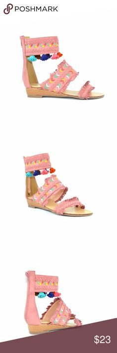 "Chase & Chloe Cayne Pink High Top Flat Sandal Variegated texturing puts a subtly exotic spin on a minimalist thong sandal styled with a back-zipped closure.  Chase & Chloe Cayne-1 Open Toe Trimmed Cut Embroidery Design Women's High Top Flat Sandal Approx. 0.75"" Heel, 0.75"" platform Approx. 3.0"" Shaft Height Approx. 3.5"" Shaft Circumference Available in 4 colors: Red, Black, Mauve, Nude Imported Synthetic Chase & Chloe Shoes Sandals"