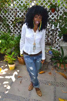 Style Pantry | White Linen Tunic + Boyfriend Jeans + Leopard Print Flats