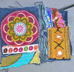 hippie patched denim  boho gypsy patch work upcycled blue jean patches