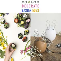 Over 50 Ways To Decorate Easter Eggs - The Cottage Market Let The Fun Begin, Egg Decorating, Diy Projects To Try, Seasonal Decor, Easter Eggs, Christmas Ideas, Corner, Cottage, Decorations