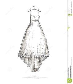 Wedding Dress On A Hanger, Hand Drawn. Stock Photo - Image: 30510020