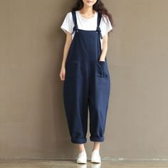 Japanese-Vintage-Mori-girl-Sweet-Preppy-Style-Loose-suspender-trousers-Pants-02