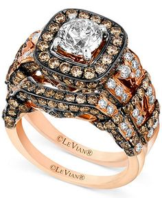 Le Vian Ring Set, White Diamond (1-3/8 ct. t.w.) and Chocolate Diamond (2-1/5 ct. t.w.) Engagement Ring Set in 14k Rose Gold - Le Vian Bridal - Jewelry & Watches - Macy's