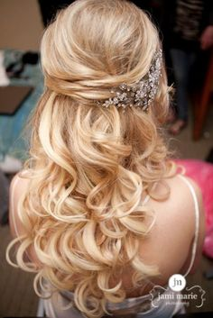 elegant curly half up half down wedding hairstyles