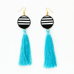 Fashion statement earrings / Handmade polymer clay earrings with stripea and tassels made in Greece
