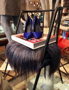 "Celine Pony Hair Pumps, ""The World In Vogue People Parties Places"" Book, Kelly Wearstler Chair available at Forty Five Ten"