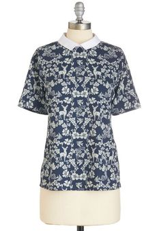 Heartwarming Habitat Top by Yumi - Mid-length, Woven, Blue, Print with Animals, Work, Short Sleeves, Collared