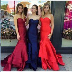 Elegant strapless mermaid red/dard red/royal blue prom dress