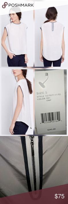 """Vince Off White Cocoon Silk Blouse Top New with tags. Perfect condition. No trades.  Approximate measurements Chest flat across 22.75"""" Length 24.25""""  Zips in the back. Off white with gray piping. 100% silk Vince Tops"""