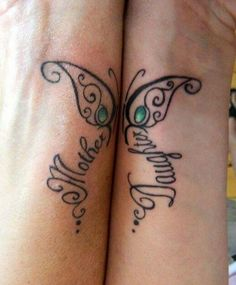 Ornate matching butterfly like a symbol of mother and daughter love. Color: Black. Tags: Matching