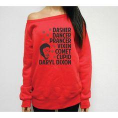 Dasher Dancer Prancer Vixen Comet Cupid Daryl Dixon Walking Dead... ($36) ❤ liked on Polyvore featuring tops, hoodies, sweatshirts, grey, tanks, women's clothing, petite tops, sweatshirts hoodies, wide neck sweatshirt and grey sweatshirt
