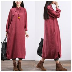 Women cotton long sleeve winter long maxi dress red